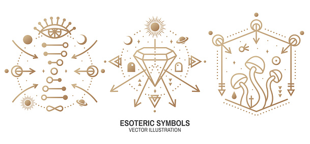 Esoteric symbols. Vector. Thin line geometric badge. Outline icon for alchemy or sacred geometry. Mystic and magic design with alchemy symbols, all-seeing eye, crystals, dna and mushrooms