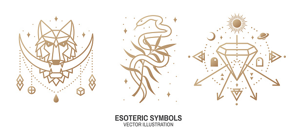 Esoteric symbols. Vector. Thin line geometric badge. Outline icon for alchemy or sacred geometry. Mystic and magic design with wolf, snake, wildflower, stars, planets, crystal and moon.