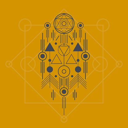 Esoteric Thinline Geometric Shape Symbol Tattoo T-shirt Design Illustration With Gold Background