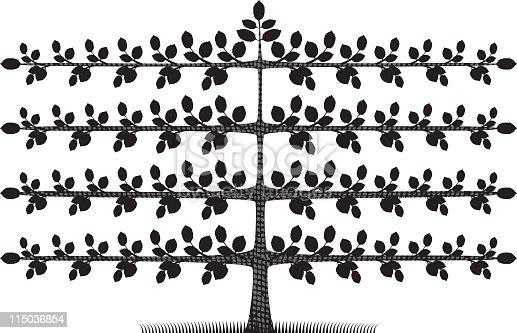 Espalier Tree Silhouette