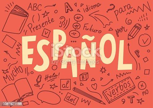 "istock Espanol. Translation ""Spanish"". Language hand drawn doodles and lettering. 1087621188"