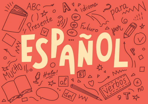 "illustrazioni stock, clip art, cartoni animati e icone di tendenza di espanol. translation ""spanish"". language hand drawn doodles and lettering. - spagnolo lingua"