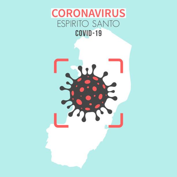 illustrations, cliparts, dessins animés et icônes de carte d'espirito santo avec une cellule de coronavirus (covid-19) dans le viseur rouge - covid france