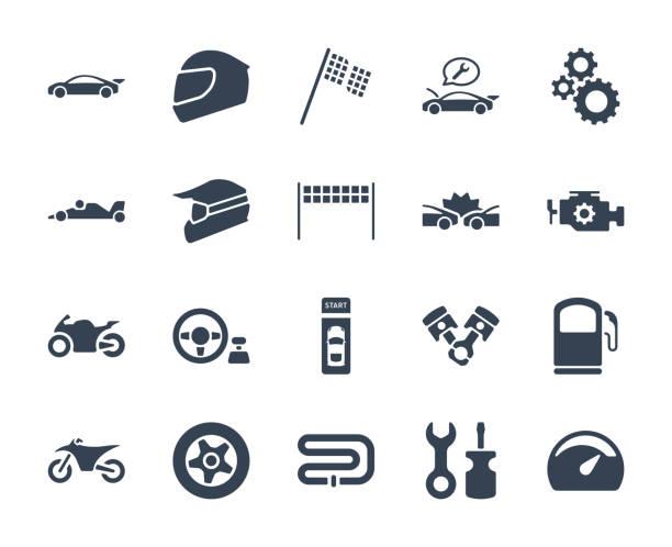ilustrações de stock, clip art, desenhos animados e ícones de esport and video game design icon set - helmet motorbike