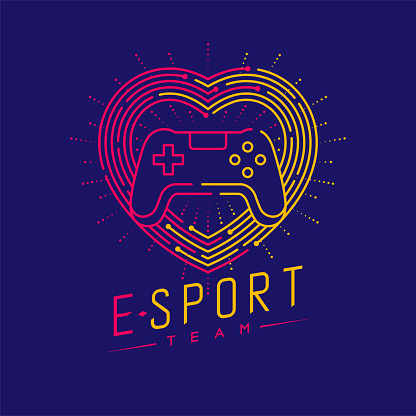Esport  icon outline stroke in heart love frame and radius, Joypad or Controller gaming gear design illustration isolated on dark blue background with Esport Team text and copy space, vector eps