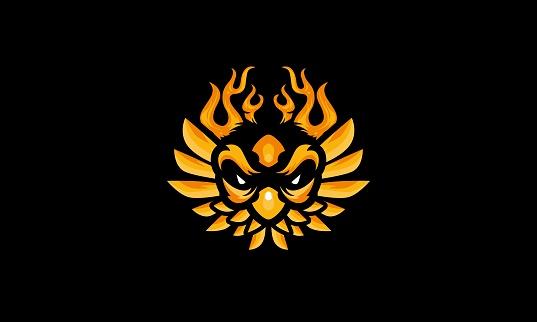 E-Sports Game Flaming Owl Mascot
