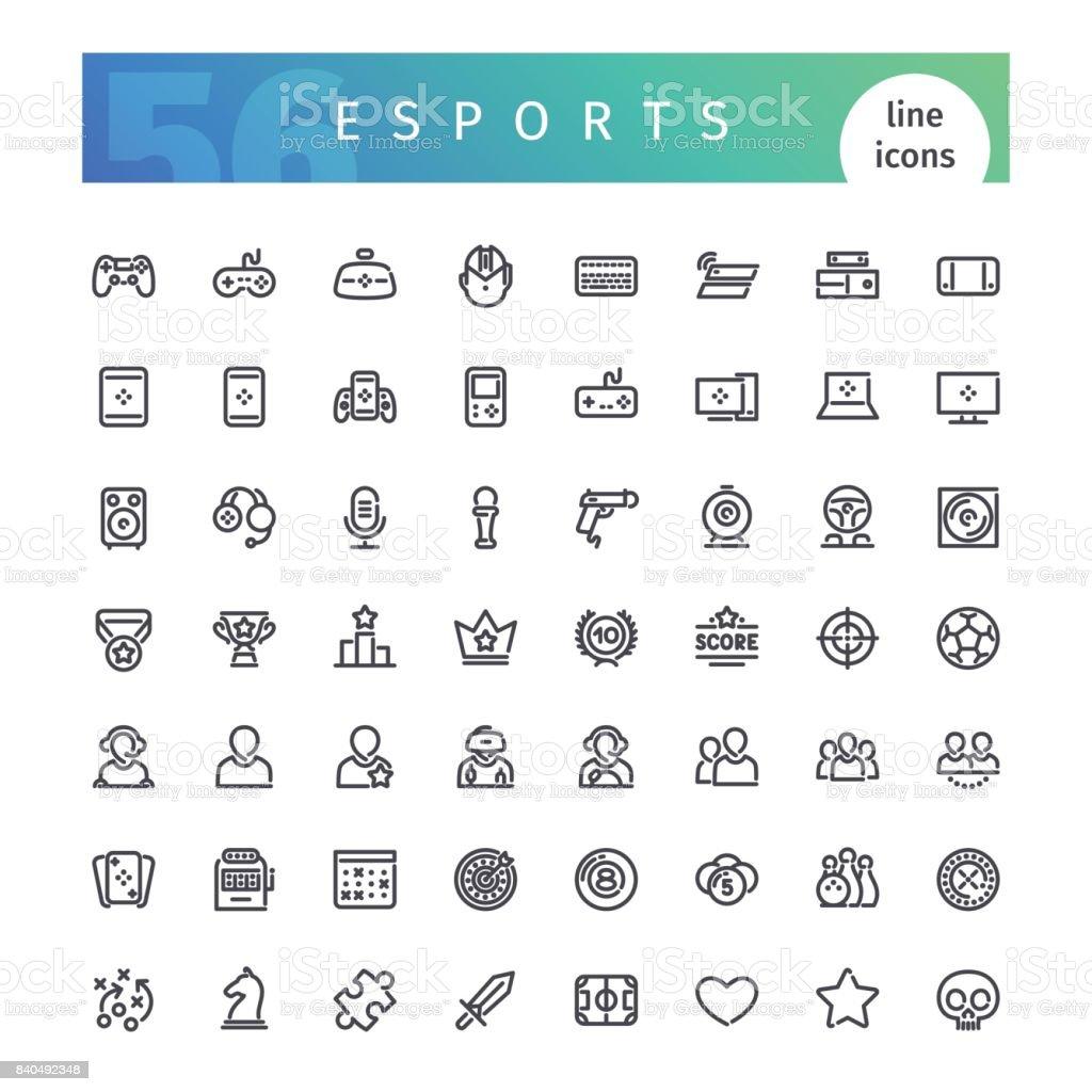 Ligne de eSports Icons Set ligne de esports icons set vecteurs libres de droits et plus d'images vectorielles de application mobile libre de droits