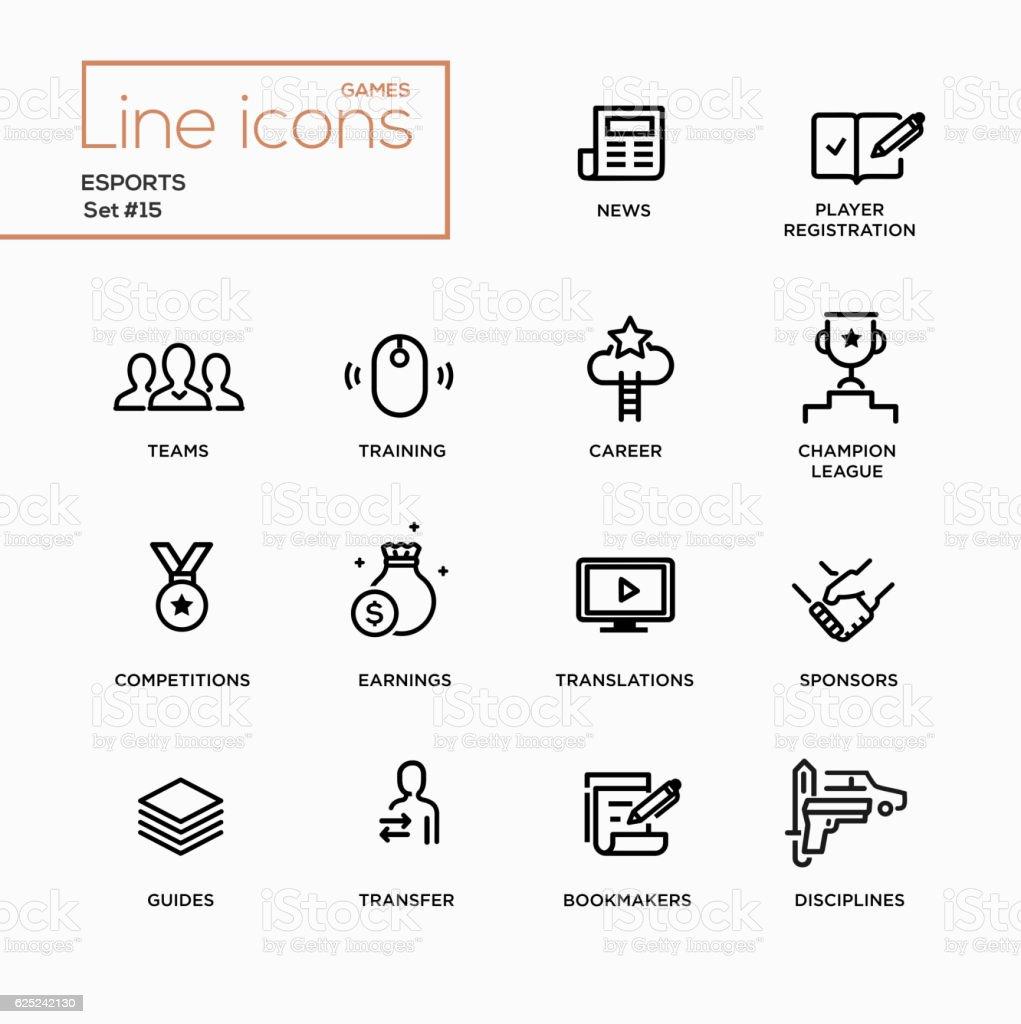 Esports - Single Line Pictograms Set vector art illustration