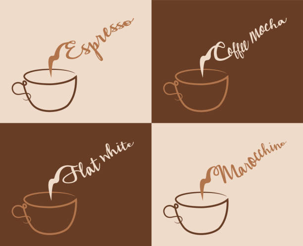 Espresso And Other Coffee Types With Steam Stock Vector Art & More ...