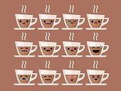 Espresso Cartoon Character with Different Expressions. Isolated
