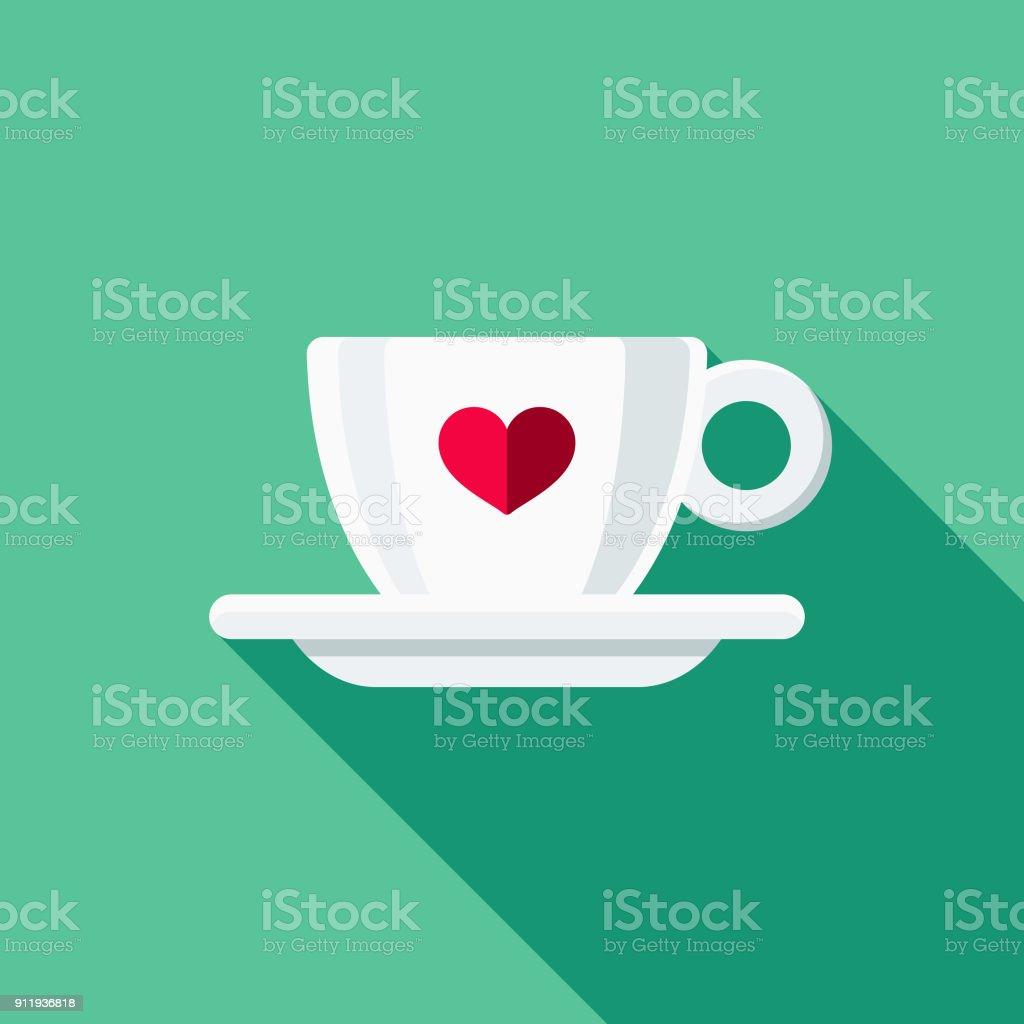Espresso Cup Flat Design Coffee & Tea Icon vector art illustration