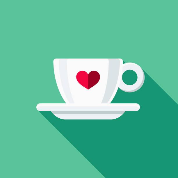 illustrations, cliparts, dessins animés et icônes de design plat tasse expresso & thé icône - tasse flat