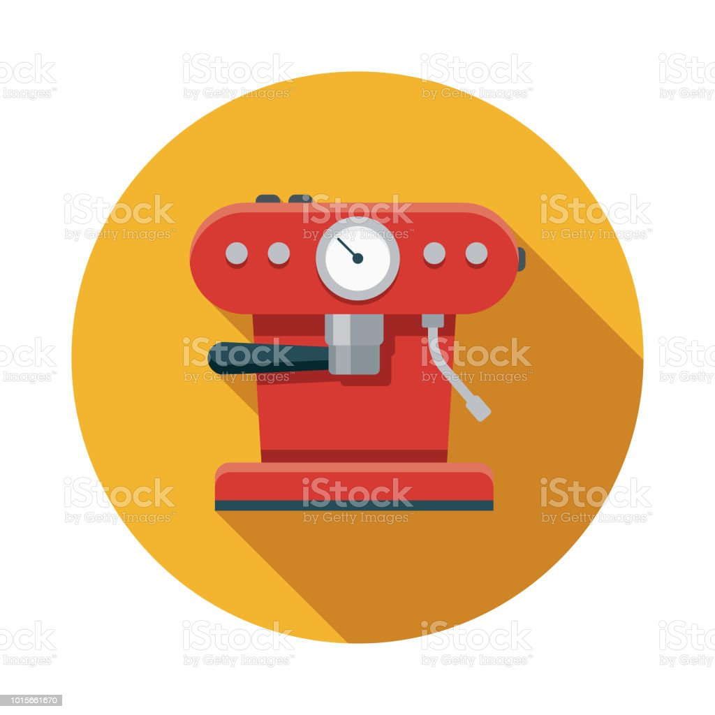 Espresso Machine Flat Design Breakfast Icon vector art illustration