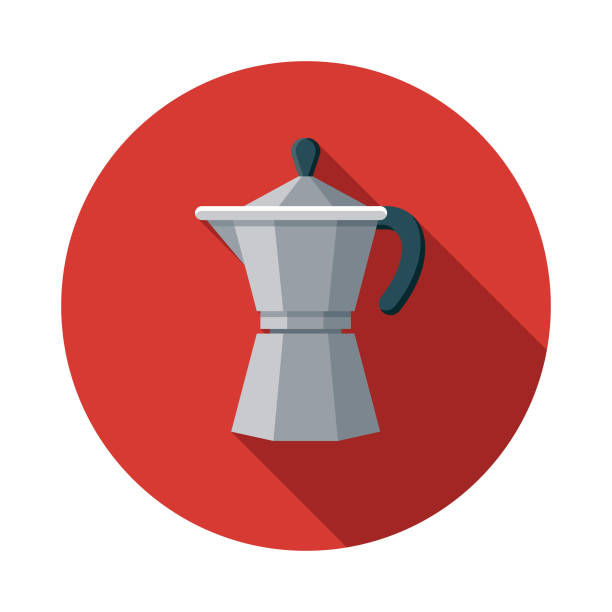 Espresso Maker Flat Design Breakfast Icon A breakfast food and beverage themed icon. File is built in the CMYK color space for optimal printing, and can easily be converted to RGB. Color swatches are global for quick and easy color changes throughout the entire set of icons. coffee pot stock illustrations