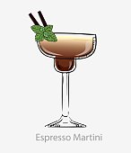istock Espresso martini cocktail. Brown cocktail two straws and leaf mint vodka based alcohol digestif. 1225631245
