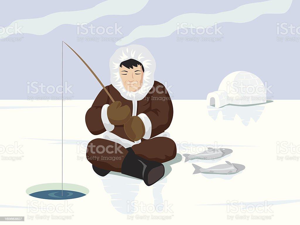 esquimo fisherman royalty-free stock vector art