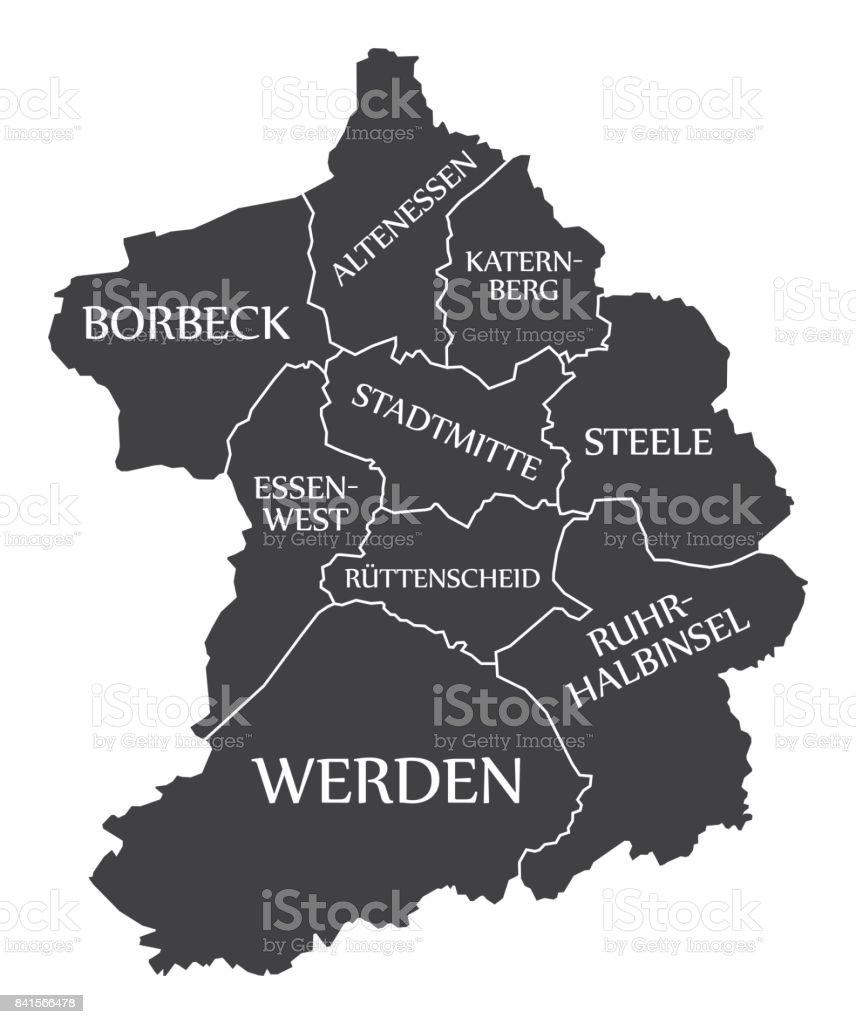 Essen City Map Germany De Labelled Black Illustration Stock ...