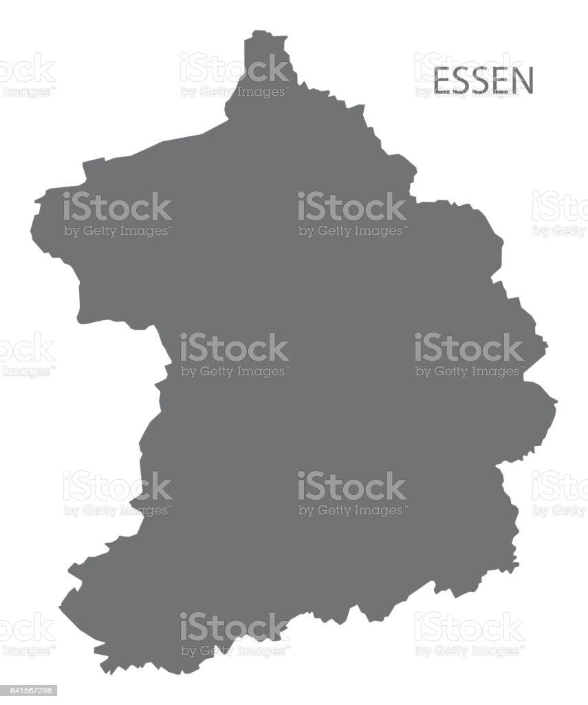 Essen City Map Grey Illustration Silhouette Shape Stock Vector Art - Germany map shape