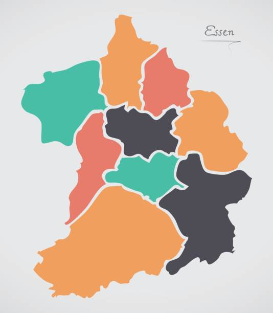 Essen Map with boroughs and modern round shapes Essen Map with boroughs and modern round shapes essen stock illustrations