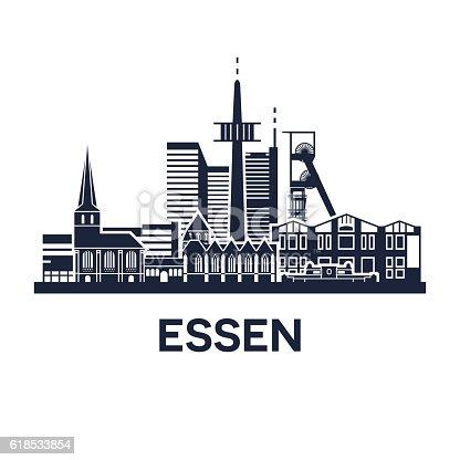 istock Essen Skyline Emblem 618533854
