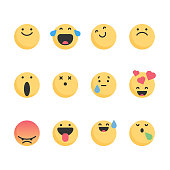Vector illustration of a set of colorful and flat designed emoticons for design projects, web pages and social media projects and mobile apps