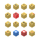 Vector illustration of a set of essential emoticons designed using isometric perspective