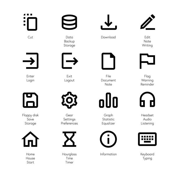 Essential line icons set 2 Vector illustration of a collection of pixel perfect and line art essential icons. enter key stock illustrations