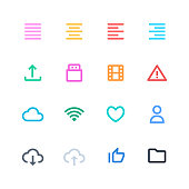 Vector illustration of a collection of pixel perfect and line art essential icons.