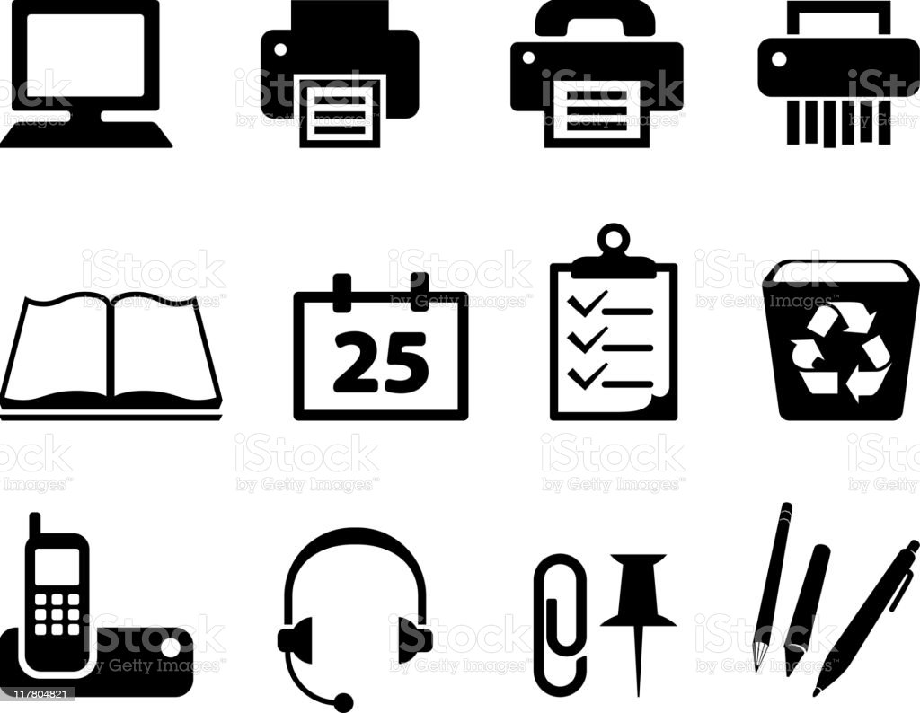 essential office supplies black and white royalty-free vector icon set royalty-free stock vector art