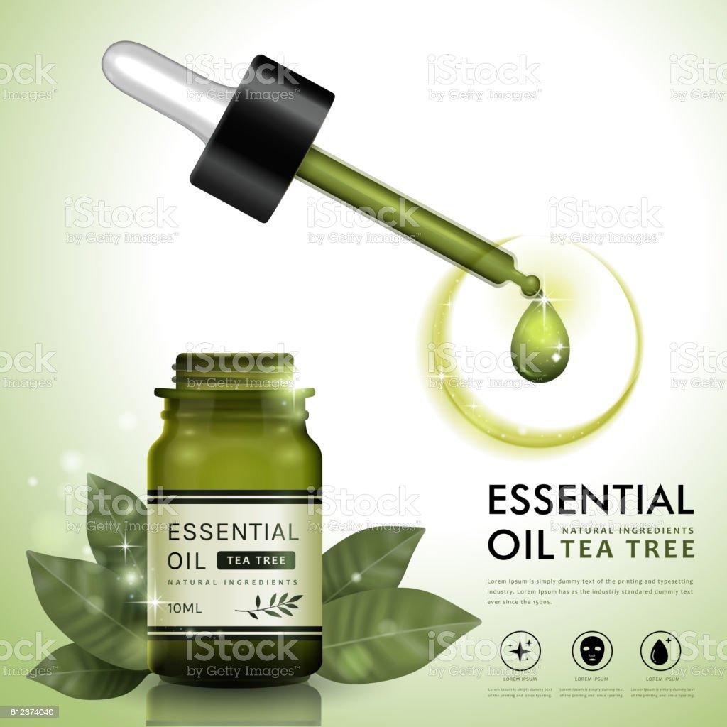 Essential oil ad template vector art illustration