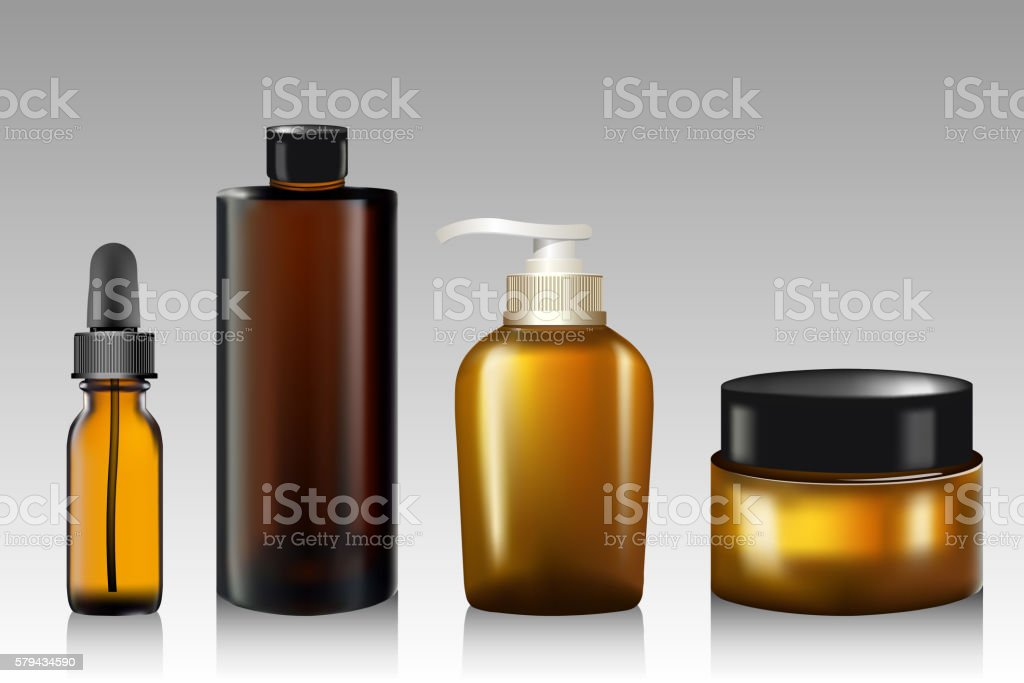 Essential oil bottle, tube for cream, soap, shampoo, Mock up. vector art illustration