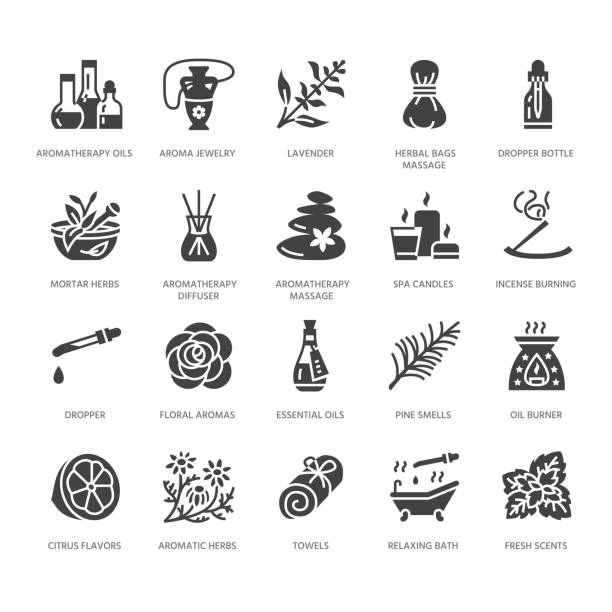 essential oils aromatherapy vector flat glyph icons set. elements - aroma therapy diffuser, oil burner, candles, incense sticks. pictograms for spa salon. solid silhouette pixel perfect 64x64 - naturopathy stock illustrations, clip art, cartoons, & icons