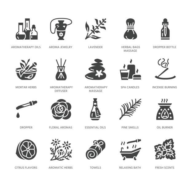 ilustrações, clipart, desenhos animados e ícones de óleos essenciais aromaterapia vector glifo plano conjunto de ícones. elementos - difusor de aroma terapia, queimador de óleo, velas, incensos. pictogramas para salão de beleza do spa. pixel sólido silhueta perfeita 64x64 - medicina alternativa