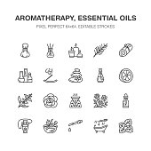 Essential oils aromatherapy vector flat line icons set. Elements - aroma therapy diffuser, oil burner, candles, incense sticks. Linear pictogram editable strokes for spa salon. Pixel perfect 64x64