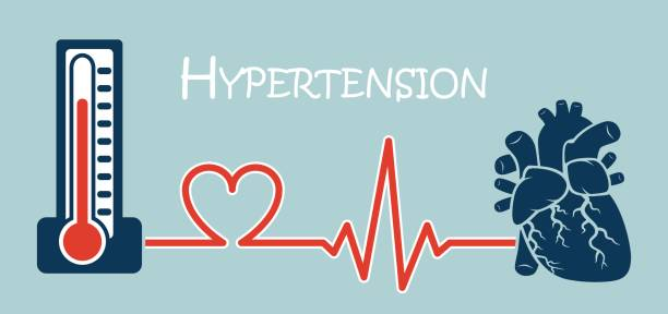Essential or Primary Hypertension ( high blood pressure )( sphygmomanometer connect to heart ) ( flat design ) ( NCD concept ( Non communicable diseases )) vector art illustration