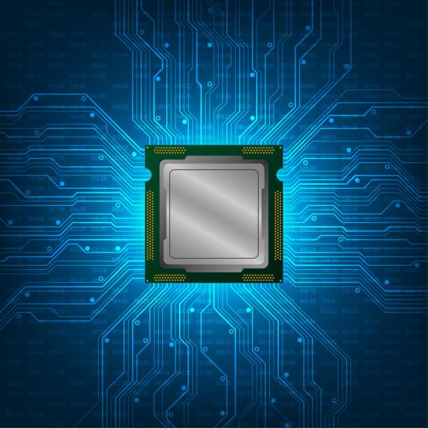 cpu bilgisayarın temel parçasıdır. - cpu stock illustrations