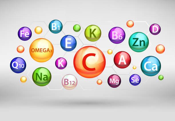 temel vitamin ve mineral karmaşık, gerçekçi illüstrasyon vektör - vitamin d stock illustrations
