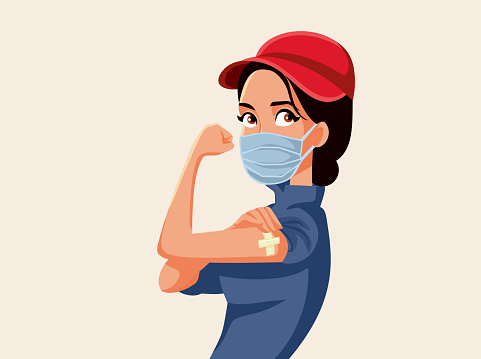 Essential Worker Showing Vaccinated Arm