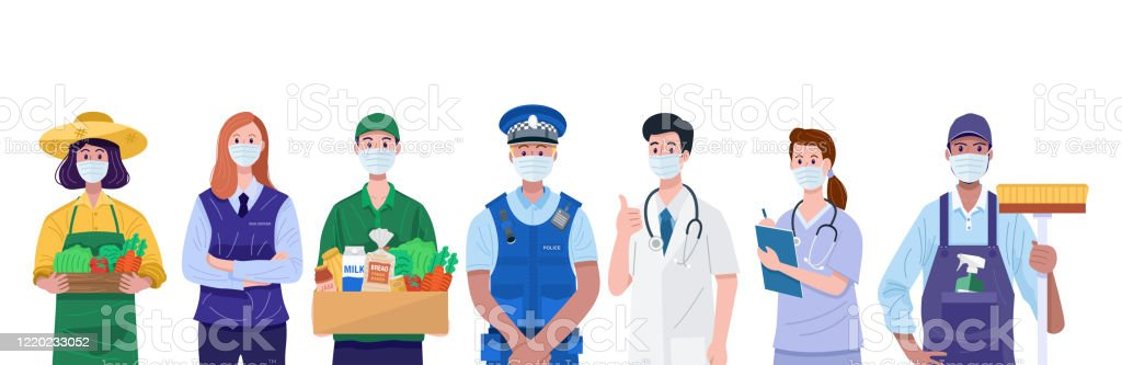 Essential workers, Various occupations people wearing face masks. Vector - Royalty-free Essential Services stock vector
