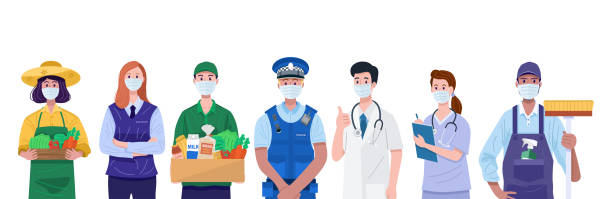 essential workers, various occupations people wearing face masks. vector - essential workers stock illustrations