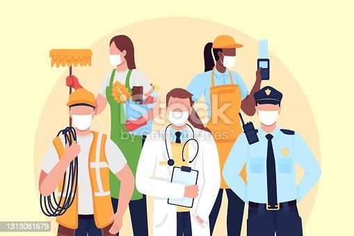 istock Essentials frontline workers flat concept vector illustration 1313081679