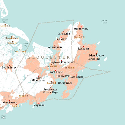 MA Essex Gloucester Vector Road Map