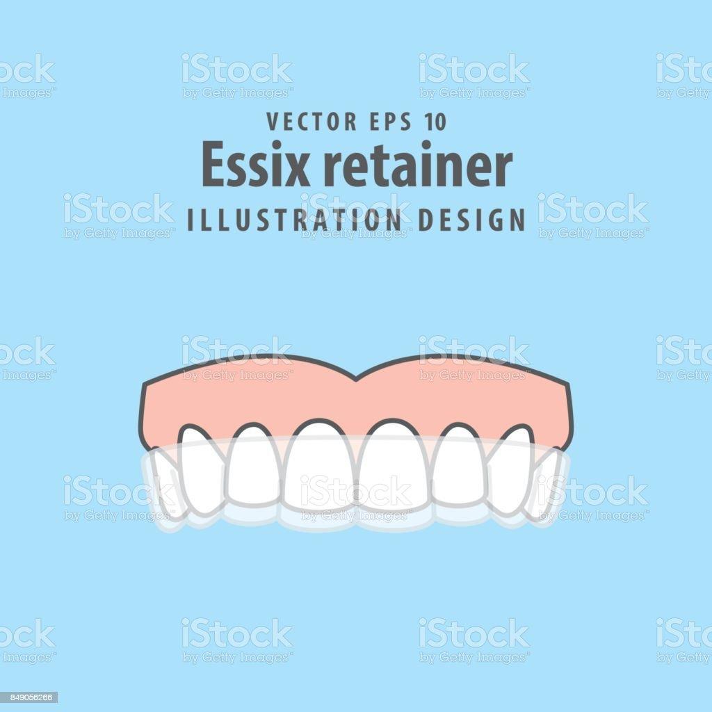 Essix Retainer Illustration Vector On Blue Background Dental