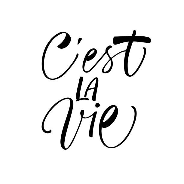 C'est la vie card. C'est la vie phrase. It's life phrase in French. Ink illustration. Modern brush calligraphy. Isolated on white background. french language stock illustrations