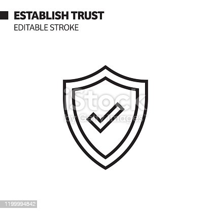 Establish Trust Line Icon, Outline Vector Symbol Illustration. Pixel Perfect, Editable Stroke.