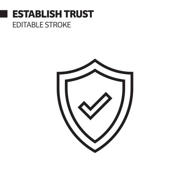 einrichten des vertrauensliniensymbols, umrissvektor-symbol-illustration. pixel perfekt, editierbarer strich. - trust stock-grafiken, -clipart, -cartoons und -symbole