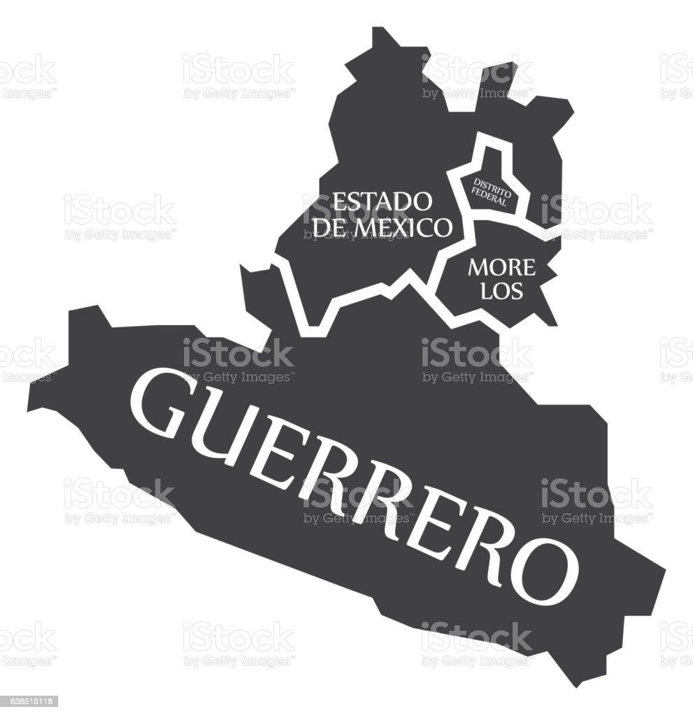 estado de mexico distrito federal morelos guerrero map mexico
