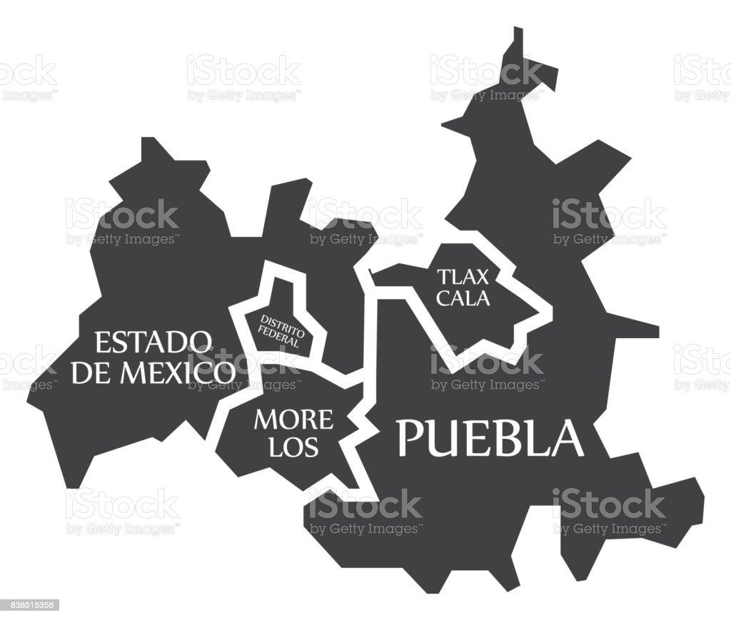 estado de mexico distrito federal tlaxcala puebla morelos map