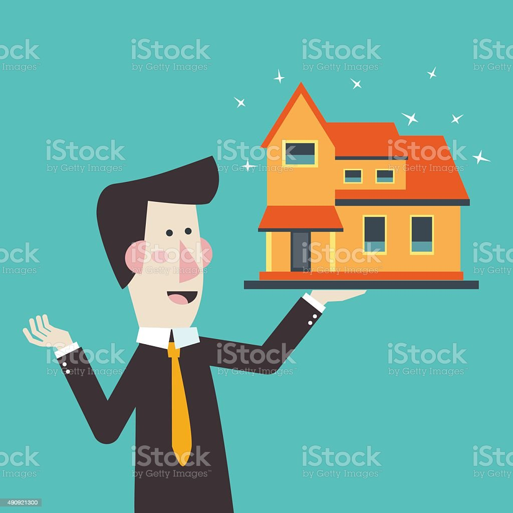Estate broker agent presenting house for sale. Investing money concept vector art illustration