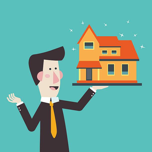 ilustraciones, imágenes clip art, dibujos animados e iconos de stock de corredor de estate agent presentar casa para venta. invertir dinero concepto - corredor de bolsa